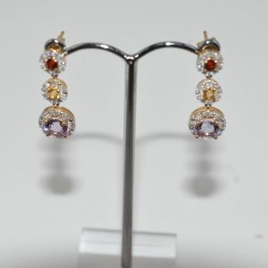 9ct Yellow Gold Tourmaline, Fire Opal And Amethyst Drop Earings