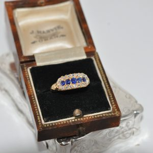 18ct Yellow Gold Sapphire And Old Cut Diamond Ring
