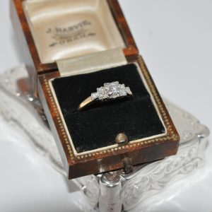 18ct Yellow Gold Art Deco Diamond Trilogy Ring