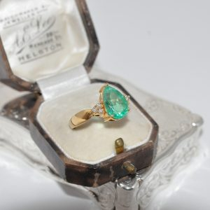 Pear Shaped Emerald And Diamond Ring Set In 18ct Yellow Gold