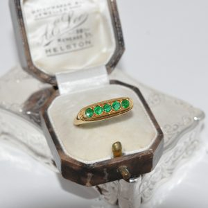18ct Yellow Gold Five Stone Emerald Ring Art Deco Style