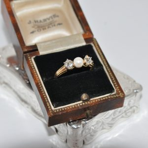 18ct Yellow Gold Old Cut Diamond And Pearl Ring C.1900