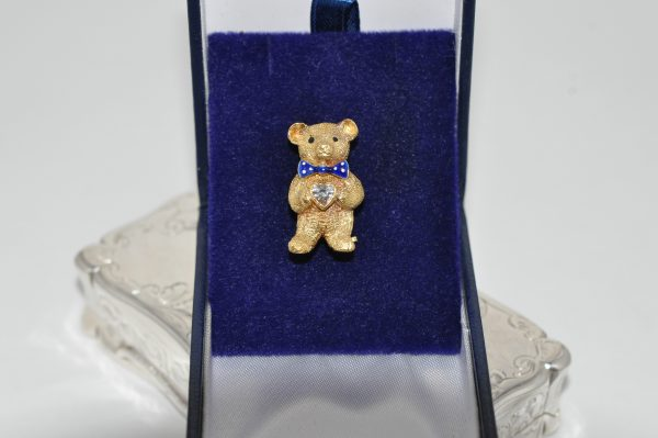 18ct Yellow Gold Teddy Bear Brooch Set With Diamond And Blue Enamel