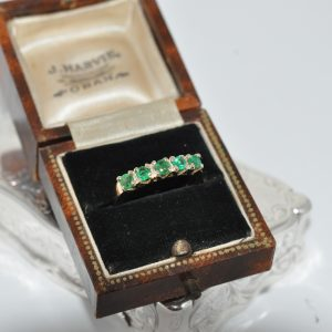 14ct Yellow Gold Five Stone Emerald Ring