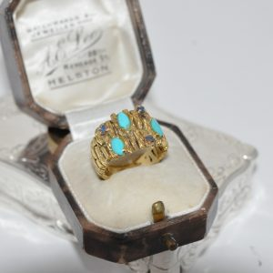 14ct Yellow Gold Turquoise And Sapphire Ring