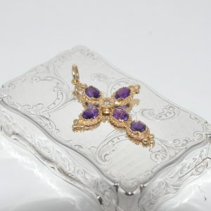 18ct Yellow Gold Amethyst Cross C.1890