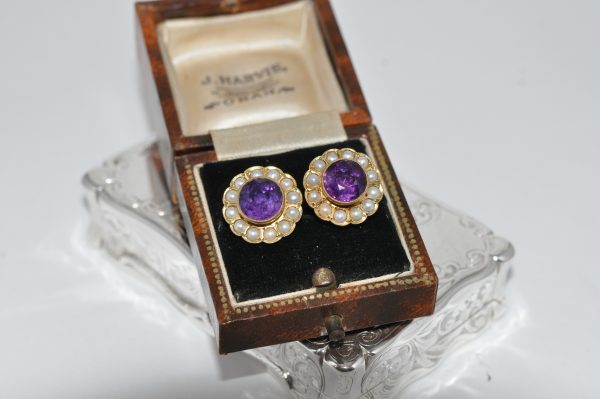 18ct Yellow Gold Amethyst And Pearl Stud Earrings