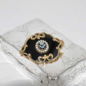 1900 Black Enameld Brooch Set With Sea Pearls In 9ct Yellow Gold